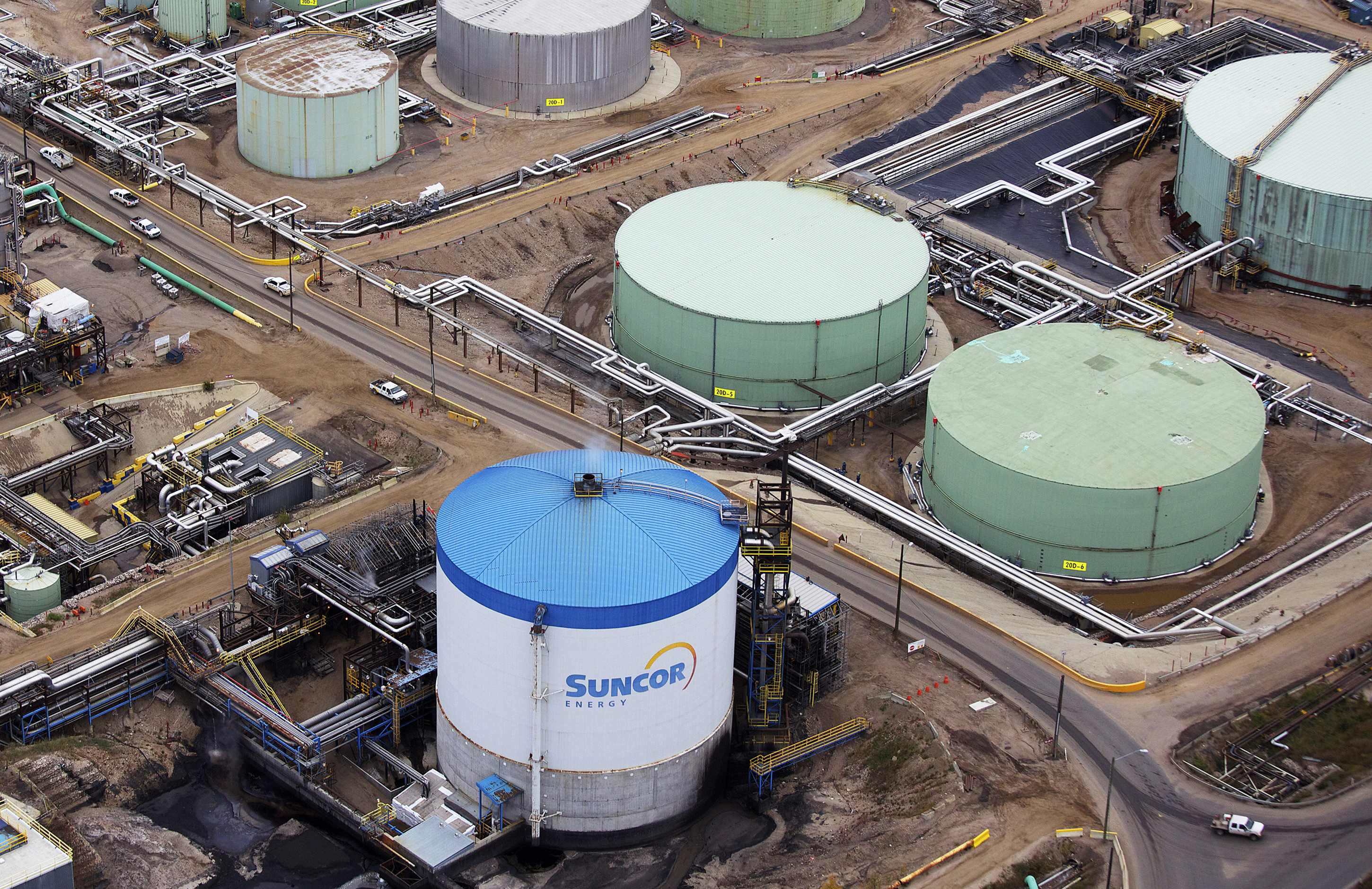 File photo of petroleum storage tanks at the Suncor tar sands operations near Fort McMurray.