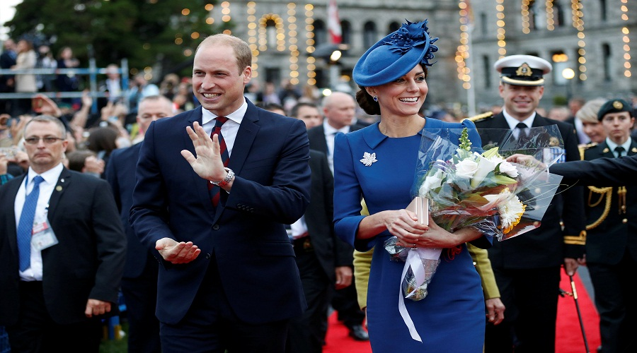 Britain's Prince William, and Catherine, Duchess of Cambridge, attend a welcome ceremony at the British Columbia Legislature in Victoria