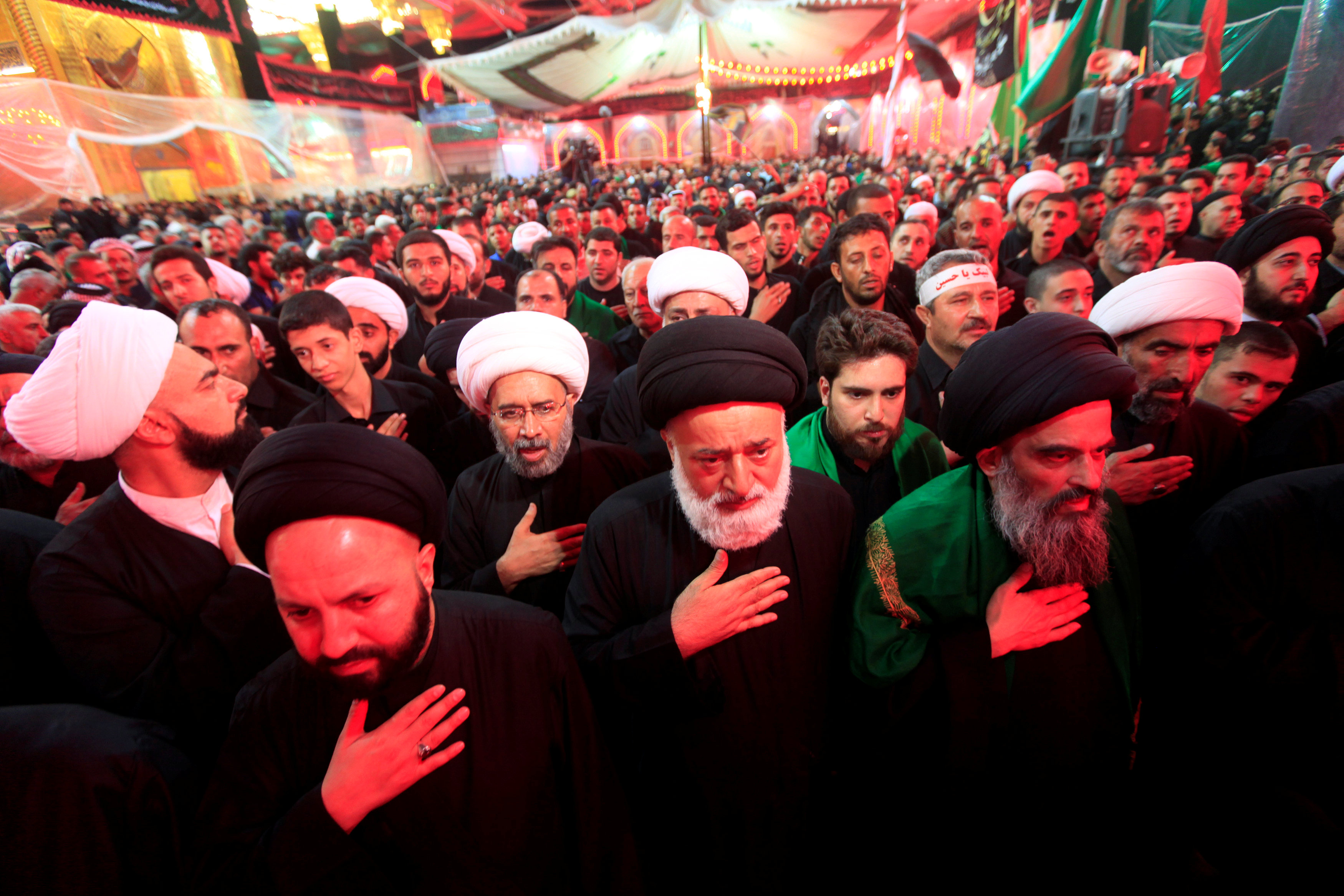 Shi'ite Muslim pilgrims gather as they commemorate Ashura in Kerbala
