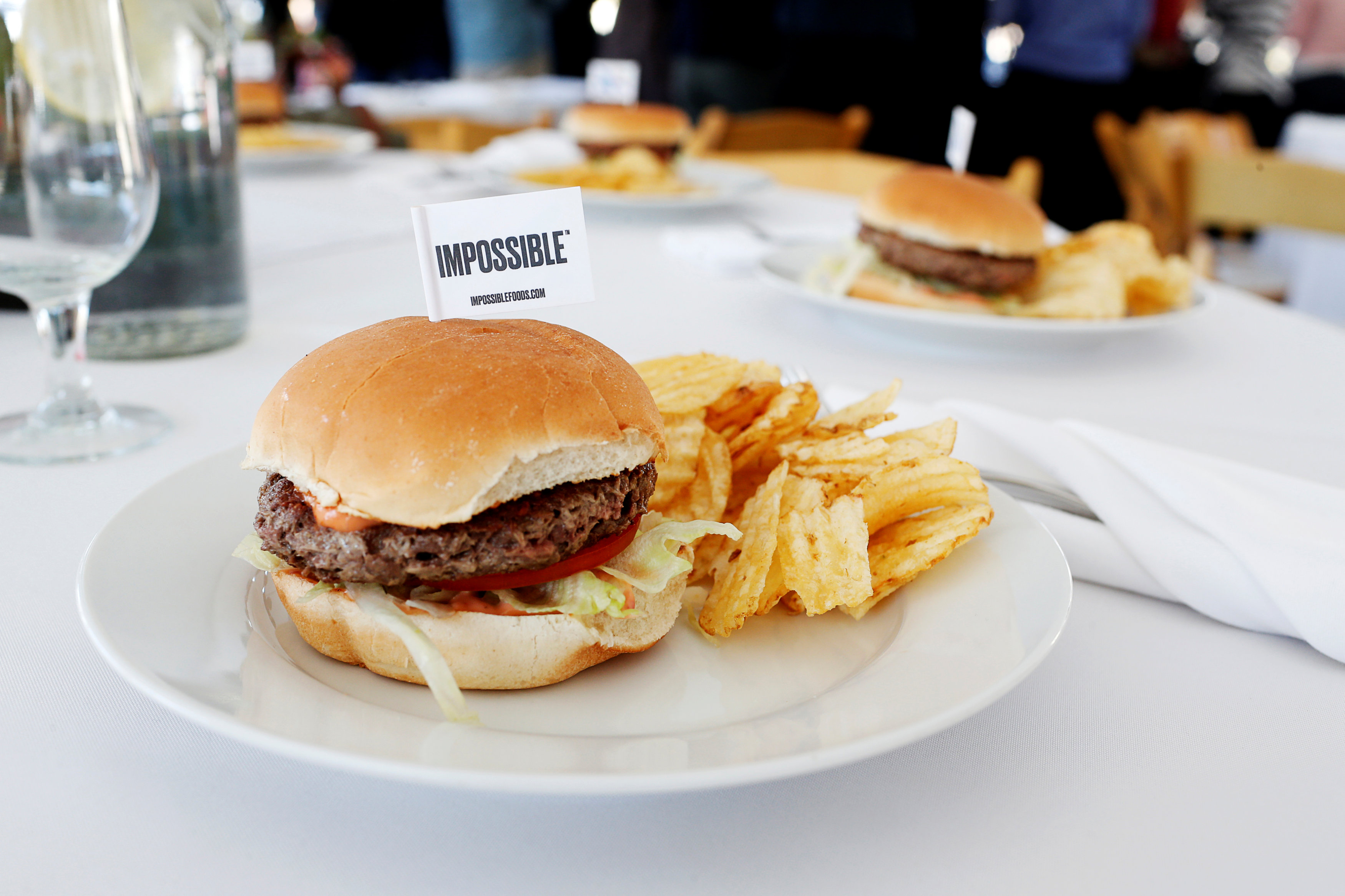 The completed plant-based hamburger is displayed during a media tour of Impossible Foods labs and processing plant in Redwood City, California, U.S. October 6, 2016. Picture taken October 6, 2016. REUTERS/Beck Diefenbach