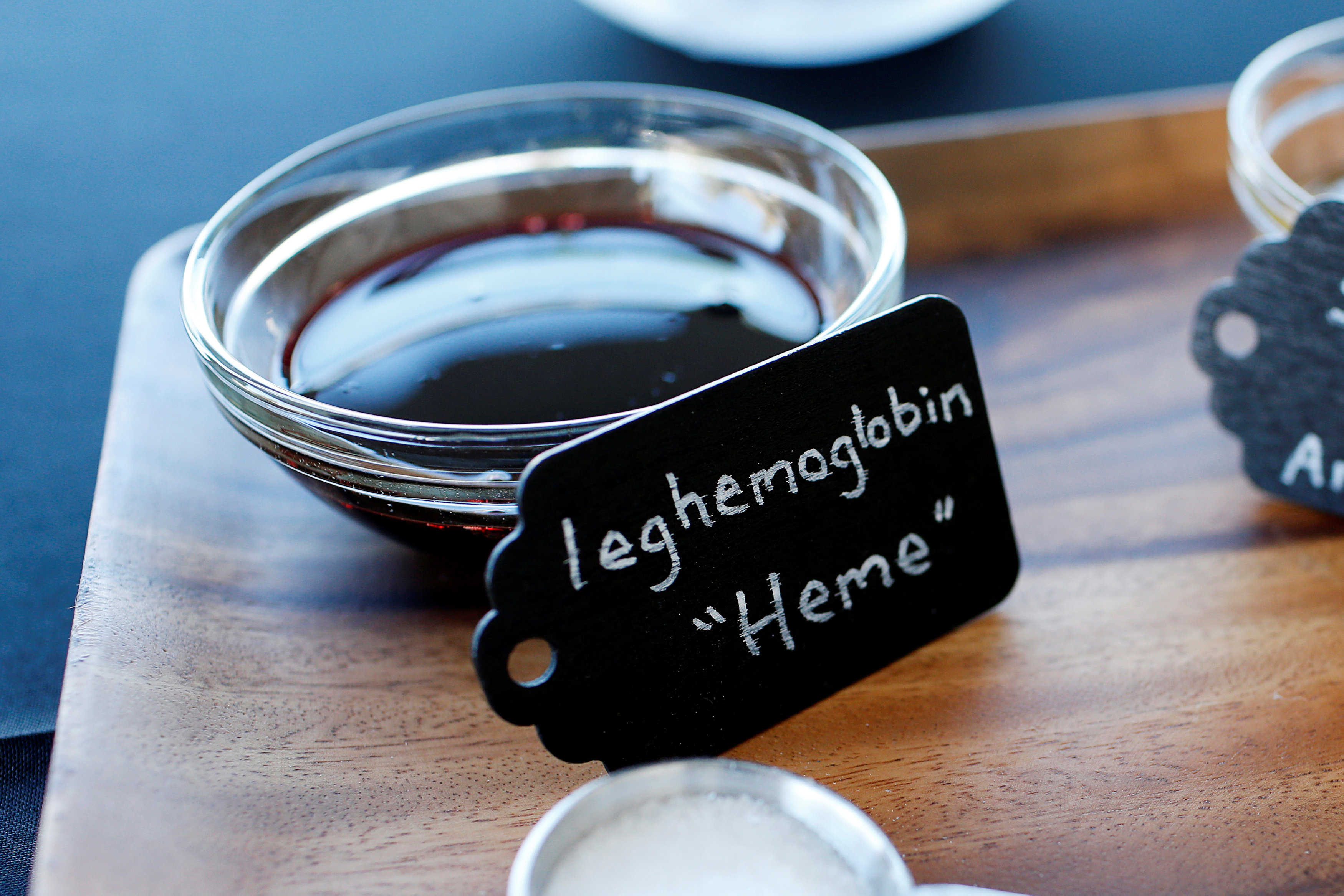 Leghemoglobin, which mimic's blood in plant-based patties, are on display during a media tour of Impossible Foods labs and processing plant in Redwood City, California, U.S. October 6, 2016. Picture taken October 6, 2016. REUTERS/Beck Diefenbach