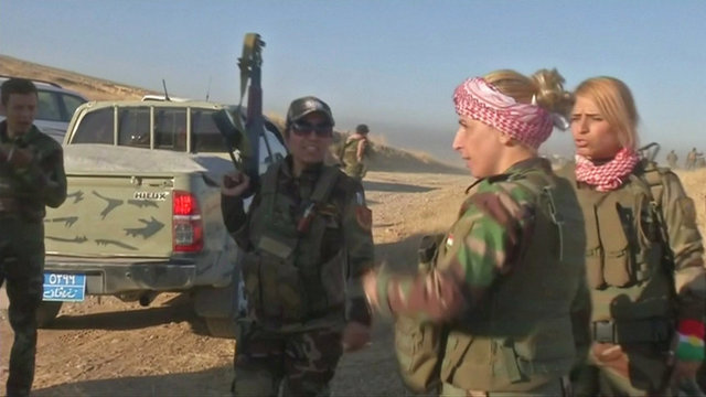 Peshmerga fighters are seen in Khazer, west of Erbil, Iraq in this still frame taken from video October 17, 2016. REUTERS/Reuters TV