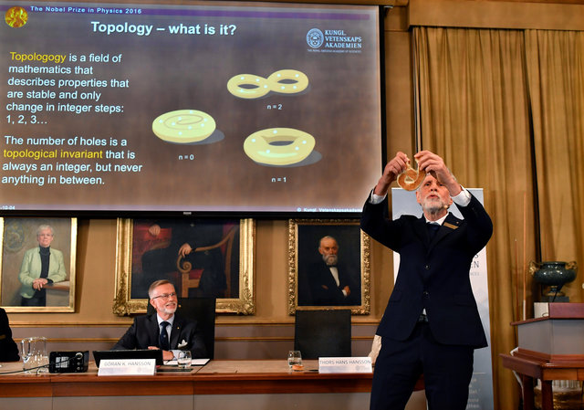 Thomas Hans Hansson (R), one of the members of the Royal Academy of Sciences, speaks as fellow member Goran K Hansson watches during a news conference announcing the winners of the 2016 Nobel Prize for Physics in Stockholm, Sweden October 4, 2016. TT News Agency/Anders Wiklund/via REUTERS