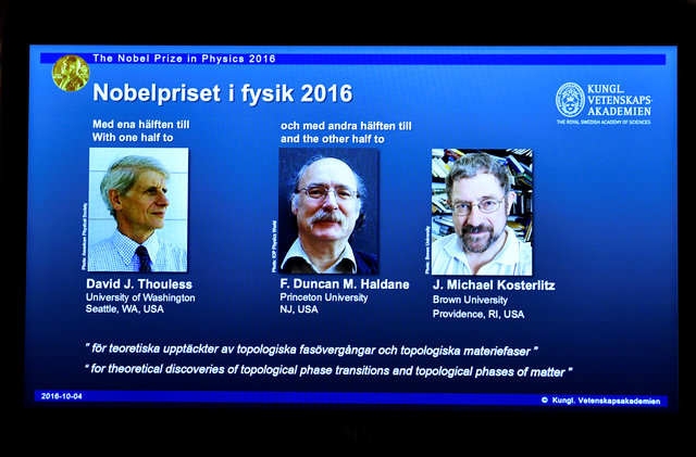 A screen showing pictures of the winners of the 2016 Nobel Prize for Physics during a news conference by the Royal Swedish Academy of Sciences in Stockholm, Sweden October 4, 2016. From left: David Thouless, Duncan Haldane and Michael Kosterlitz. TT News Agency/Anders Wiklund/via REUTERS