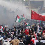 الأمن يطلق الغاز المسيل للدموع أثناء مظاهرة قرب السفارة الأمريكية في لبنان