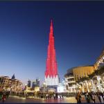 أعلى مبنى في العالم بألوان علم البحرين احتفالا بعيدها الوطني