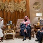 محمد بن زايد وبن سلمان يبحثان مع رئيس حزب «الإصلاح» مستجدات الساحة اليمنية