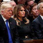 فيديو| نظرات متبادلة بين ترامب وأوباما تتصدر تأبين جورج بوش الأب