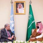 ولي العهد السعودي يجتمع مع جوتيريش على هامش قمة العشرين