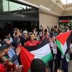 صور  استقبال جماهيري كبير لبعثة المنتخب الفلسطيني في الإمارات