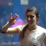 المصرية نور الشربيني تحتفل ببطولة العالم للاسكواش على تويتر
