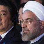 إيران تستقبل رئيس وزراء اليابان بصورة للقصف النووي