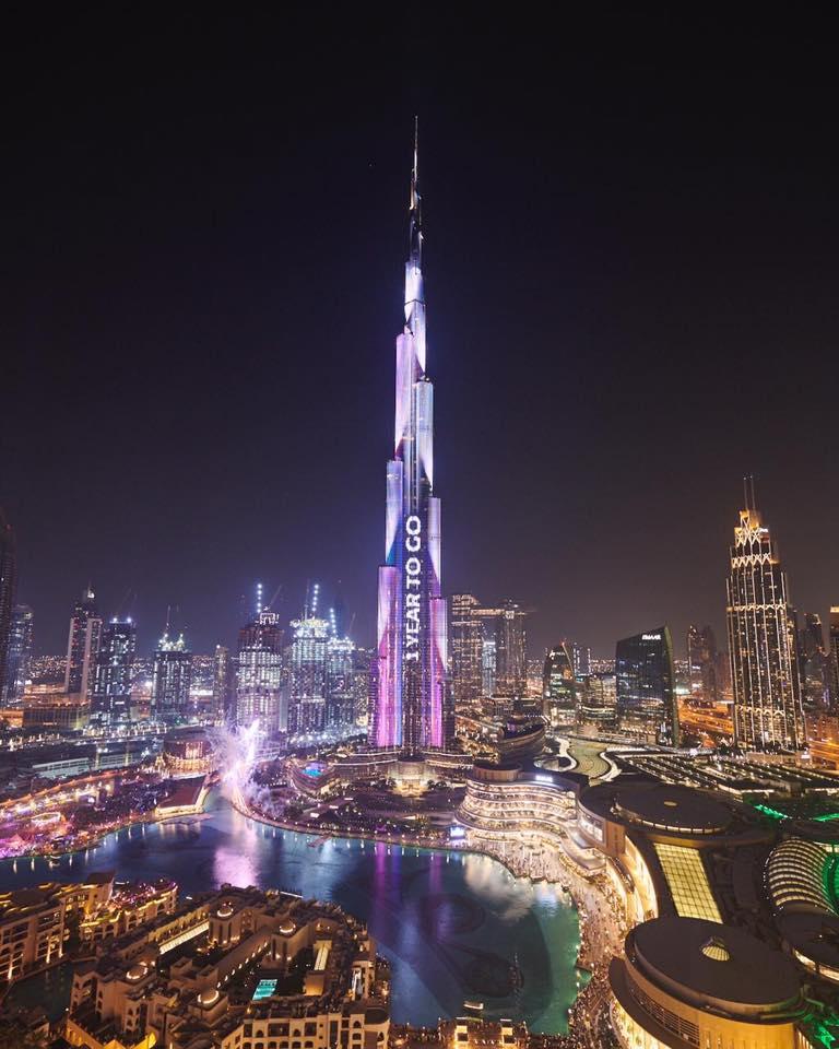 الإمارات برج خليفة يتزين بـ اكسبو دبي 2020 قناة الغد