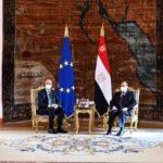 السيسي يستقبل رئيس المجلس الأوروبي بقصر الاتحادية