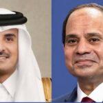 السيسي يتلقى اتصالاً هاتفيًا من أمير قطر للتهنئة بحلول رمضان