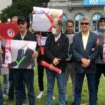 تونسيون ينظمون وقفة أمام البرلمان الأوروبي دعما لقرارات الرئيس