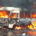 صور| انفجار على متن حافلة عسكرية في دمشق وأنباء عن إصابات